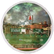Round Beach Towel featuring the photograph Fenway Park Green Monster And Citgo Sign by Joann Vitali