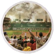 Round Beach Towel featuring the photograph Fenway Park Green Monster by Joann Vitali