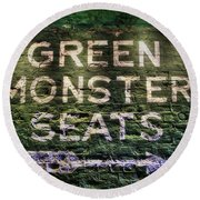 Round Beach Towel featuring the photograph Fenway Park Green Monster Seats by Joann Vitali