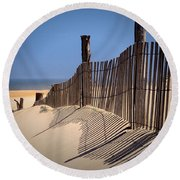 Fenwick Dune Fence And Shadows Round Beach Towel