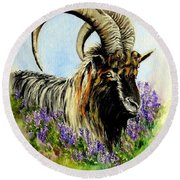 Feral Highland Buck In Heather Round Beach Towel