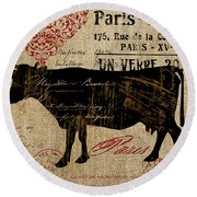 Ferme Farm Cow Round Beach Towel