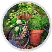 Fern Dale Flower Bicycle Round Beach Towel by Craig J Satterlee
