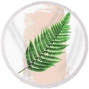 Fern Leaf On Pink Round Beach Towel