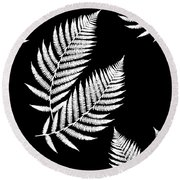 Round Beach Towel featuring the mixed media Fern Pattern Black And White by Christina Rollo
