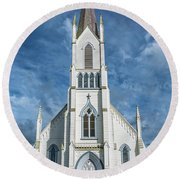 Round Beach Towel featuring the photograph Ferndale Catholic Church by Greg Nyquist