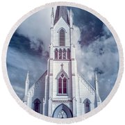 Round Beach Towel featuring the photograph Ferndale Church In Infrared by Greg Nyquist