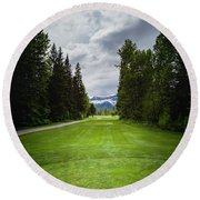 Round Beach Towel featuring the photograph Fernie Tee Box by Darcy Michaelchuk