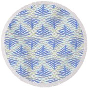 Ferns On Diamonds Indigo Gray Round Beach Towel