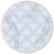 Ferns On Diamonds Lilac Gray Round Beach Towel