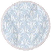 Ferns On Diamonds Lilac Gray Round Beach Towel