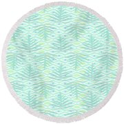 Ferns On Diamonds Pale Teal Round Beach Towel