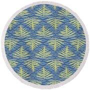 Ferns On Diamonds Yellow Indigo Round Beach Towel