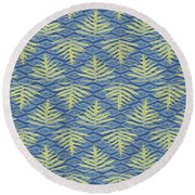 Ferns On Diamonds Yellow Indigo Round Beach Towel
