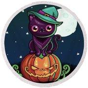Ferociously Cute Halloween Vampire Witch Kitty C Round Beach Towel