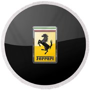 Ferrari - 3 D Badge On Black Round Beach Towel by Serge Averbukh
