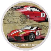 Ferrari 360 Michelotto Le Mans Race Car. Two Drawings One Print Round Beach Towel