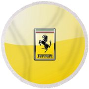 Ferrari 3d Badge- Hood Ornament On Yellow Round Beach Towel