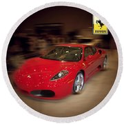 Ferrari F430 - The Red Beast Round Beach Towel