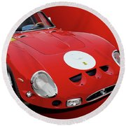 Ferrari Gto Illustration Round Beach Towel