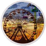 Round Beach Towel featuring the digital art Ferris At Dusk by David Lee Thompson