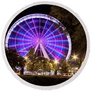 Ferris Wheel At Centennial Park 1 Round Beach Towel