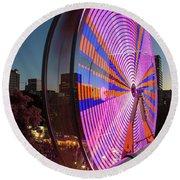 Ferris Wheel At Fun Fair In Downtown Portland Oregon Round Beach Towel