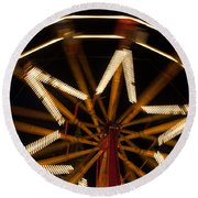 Ferris Wheel At Night Round Beach Towel by Helen Northcott