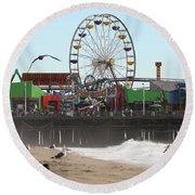 Ferris Wheel At Santa Monica Pier Round Beach Towel