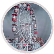 Ferris Wheel In Morning Round Beach Towel by Greg Nyquist