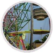 Ferris Wheel Lights At Dusk Closeup Round Beach Towel