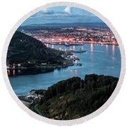 Ferrol's Estuary Panorama From La Bailadora Galicia Spain Round Beach Towel