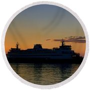 Ferry Boat Arrives To Mukilteo Ferry Terminal Round Beach Towel