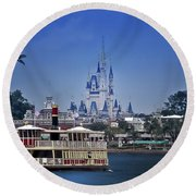 Ferry Boat Magic Kingdom Walt Disney World Mp Round Beach Towel