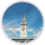 Round Beach Towel featuring the photograph Ferry Building San Francisco 1915 - California Photography by Melanie Alexandra Price