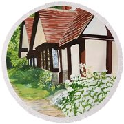 Ferry Cottage Round Beach Towel by Joanne Perkins