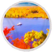Ferry Crossing Connecticut River. Round Beach Towel