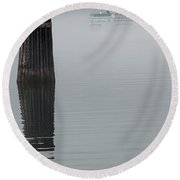 Ferry Hiding In The Fog Round Beach Towel