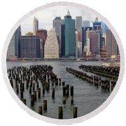 Ferry Hopping New York Round Beach Towel