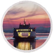 Ferry Issaquah Docking At Dawn Round Beach Towel