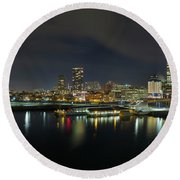 Ferry Terminal In Vancouver Bc At Night Round Beach Towel