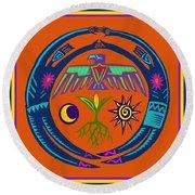 Round Beach Towel featuring the digital art Fertility Dance by Vagabond Folk Art - Virginia Vivier