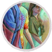 Round Beach Towel featuring the painting Festival Goers by Lesley Spanos