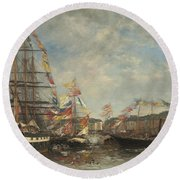 Festival In The Harbor Of Honfleur Round Beach Towel