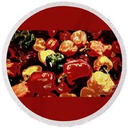 Festival Of Peppers Round Beach Towel