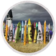 Festival Of The Crayons Round Beach Towel