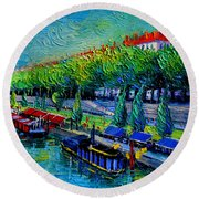Festive Barges On The Rhone River Round Beach Towel