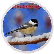 Round Beach Towel featuring the photograph Festive Chickadee by Tony Beck