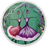 Festive Dancers Round Beach Towel
