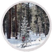 Festive Forest Round Beach Towel